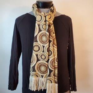 ECHO  beige ivory brown scarf fringe circles